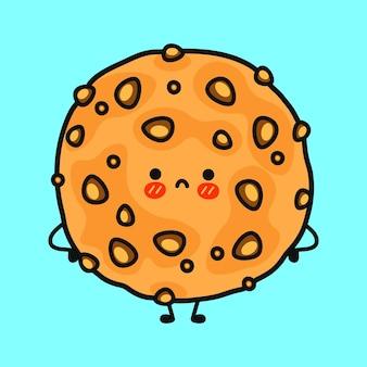 Caractère triste mignon de biscuits à l'avoine