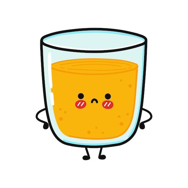 Caractère triste mignon de verre de jus