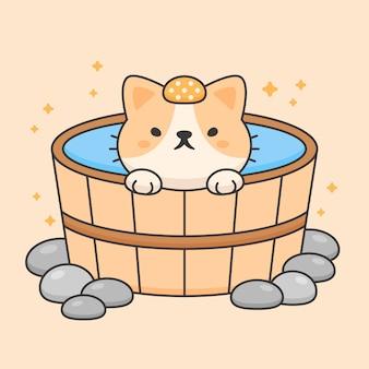 Caractère de vecteur de chat mignon dans onsen