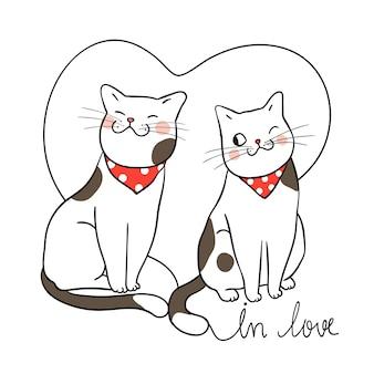 Caractère de vecteur couple chat amoureux