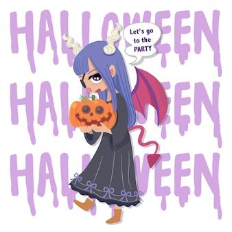 Caractère de vecteur halloween fille maléfique