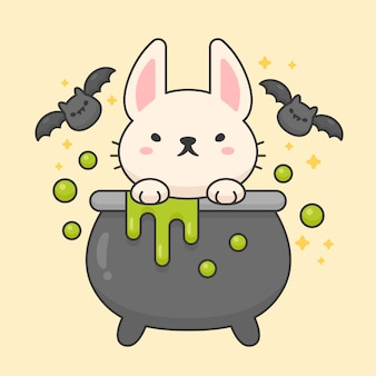 Caractère de vecteur de lapin mignon dans un pot de poison avec des chauves-souris