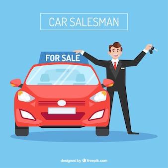 Caractère de vendeur de voiture avec un design plat