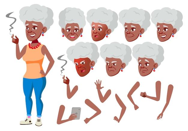 Caractère de vieille femme. africain. création constructeur pour l'animation. face aux émotions, les mains.