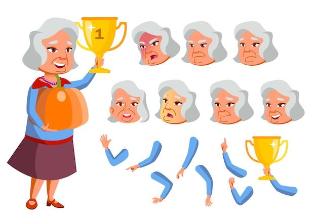 Caractère de vieille femme. asiatique. création constructeur pour l'animation. face aux émotions, les mains.