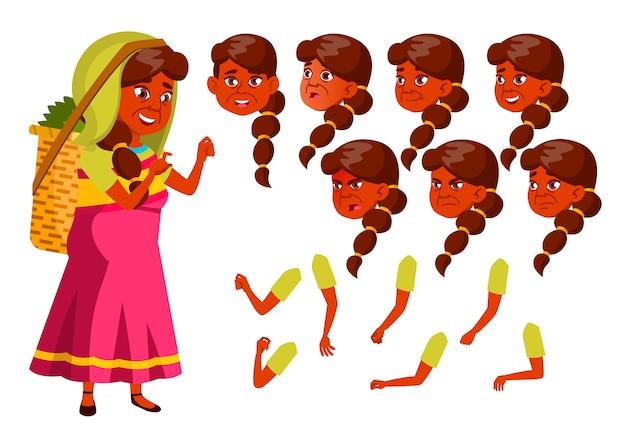 Caractère de vieille femme. indien. création constructeur pour l'animation. face aux émotions, les mains.