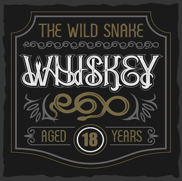 Caractère vintage de vecteur. insigne de whisky de serpent sauvage