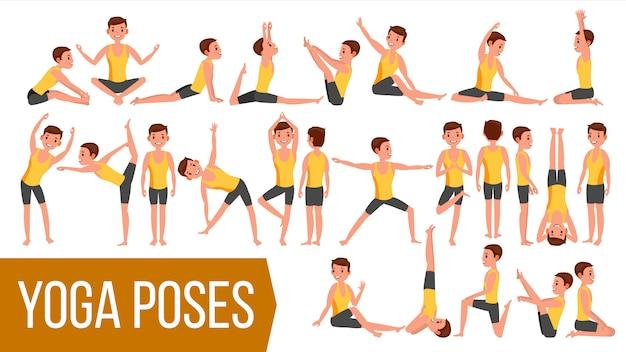 Caractère de yoga man poses.