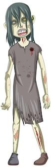 Caractère zombie effrayant sur fond blanc
