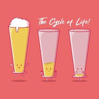 Caractères de bière de cycle de vie isolés sur rouge