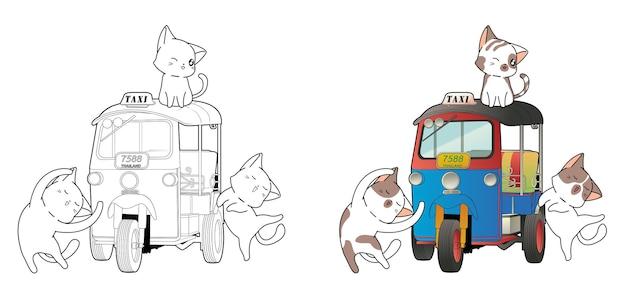 Caractères de chat mignon et coloriage de dessin animé de tricycle à moteur thaïlandais
