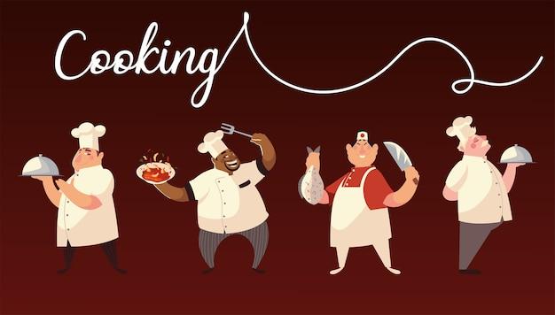 Caractères chef groupe cuisinier plat dîner design illustration