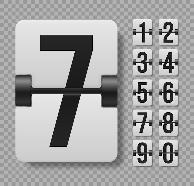 Les caractères et les chiffres flip horloge indiquant l'heure