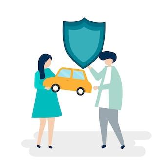 Caractères d'un couple tenant une voiture et illustration de bouclier