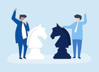 Caractères de deux hommes d'affaires jouant l'illustration d'échecs