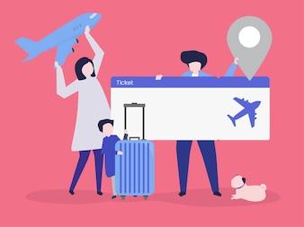 Caractères de personnes détenant des icônes de voyage illustration