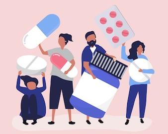 Caractères des personnes détenant des icônes pharmaceutiques