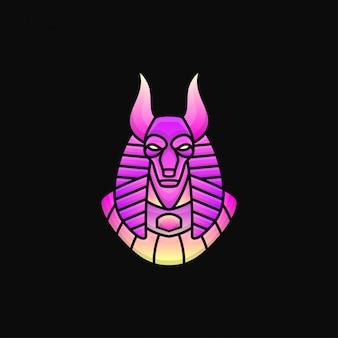 Caractères du logo anubis. style de dégradé de logo de mascotte