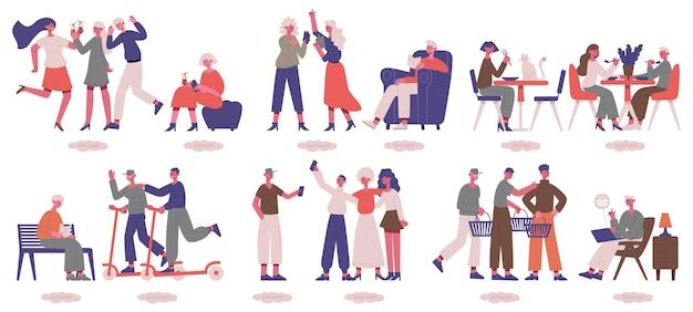 Caractères extravertis et introvertis. ensemble de personnes sociables et psychologiques