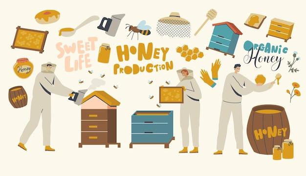 Caractères extrayant le concept de miel. apiculteurs en tenue de protection au rucher prenant le nid d'abeilles, fumant et mis en pot. production de produits écologiques naturels, ferme apicole. illustration vectorielle de personnes linéaires