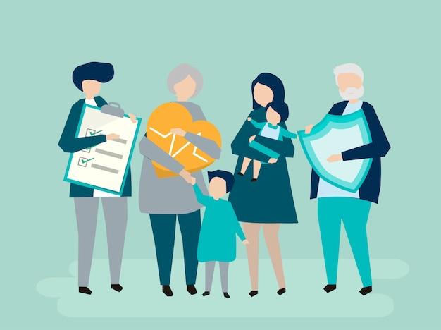 Caractères d'une famille élargie avec illustration de soins de santé
