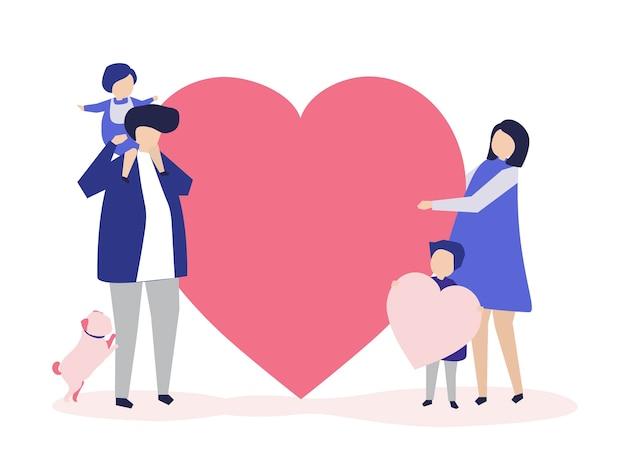 Caractères d'une famille tenant une illustration de forme de coeur
