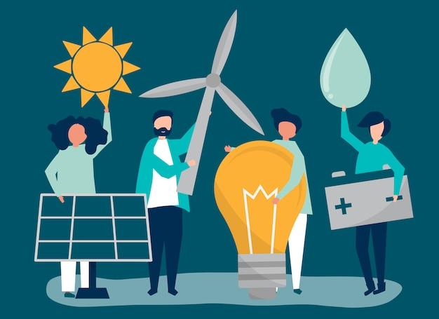 Caractères de gens tenant des icônes d'énergie verte