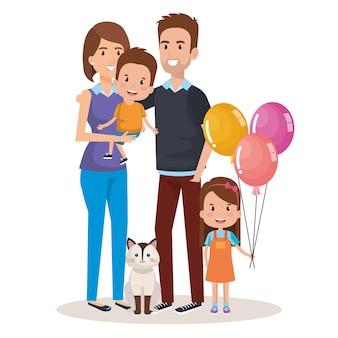 Caractères heureux et familiers de famille mignon
