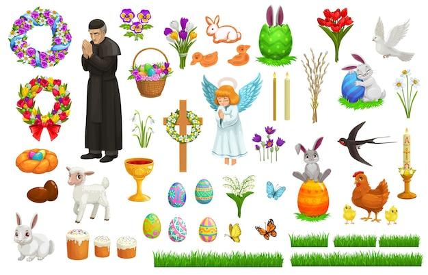 Caractères, icônes et symboles de vacances de pâques