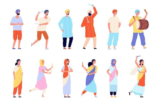 Caractères indiens. l'homme s'habille, les personnes isolées portent des vêtements traditionnels. rue de la danseuse asiatique heureuse, ensemble de vecteurs de groupe de personnes en inde. festival de danse indienne, fête traditionnelle des jeunes