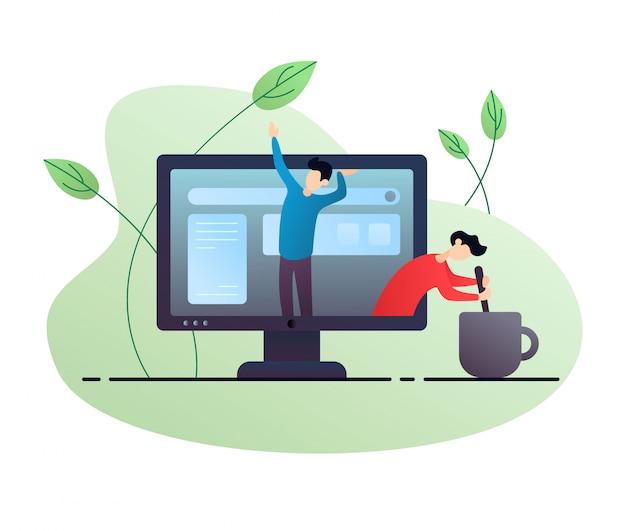Caractères à l'intérieur d'un ordinateur. illustration de plat avec des plantes et du café
