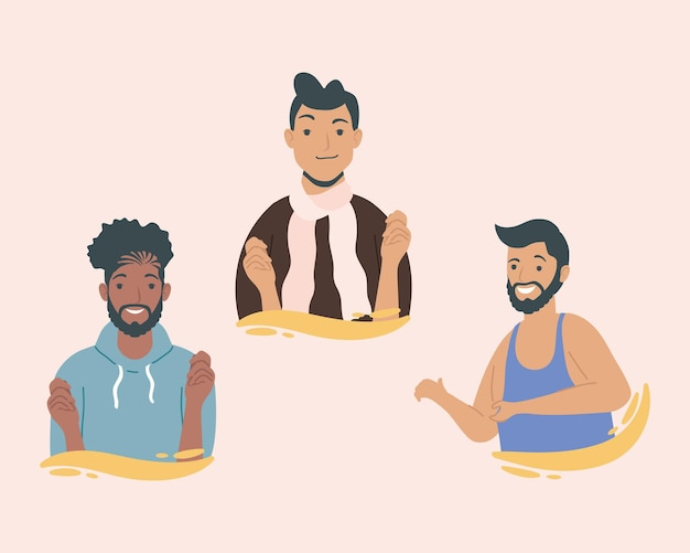 Caractères de jeunes hommes de diversité de groupe