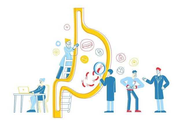 Caractères de médecins de gastroentérologie à l'estomac énorme