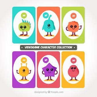 Caractères de nice de jeux vidéo colorés