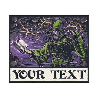 Caractères de l'orthographe du sorcier masculin mystérieux vintage vecteur premium