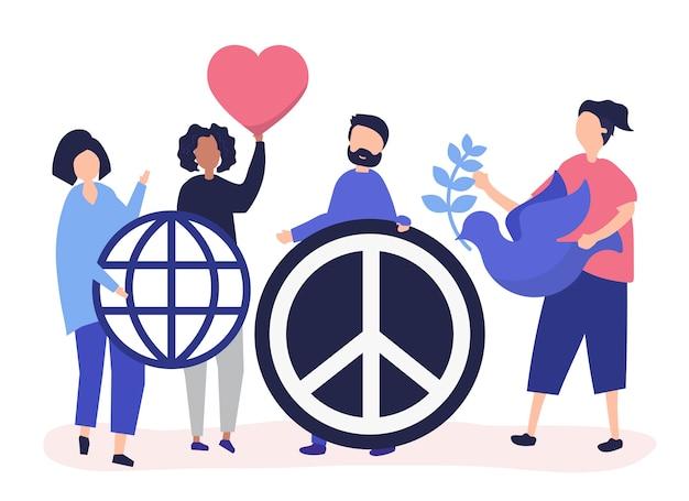 Caractères des personnes détenant des icônes icône de la paix