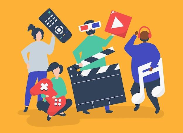 Caractères de personnes détenant des icônes multimédia illustration