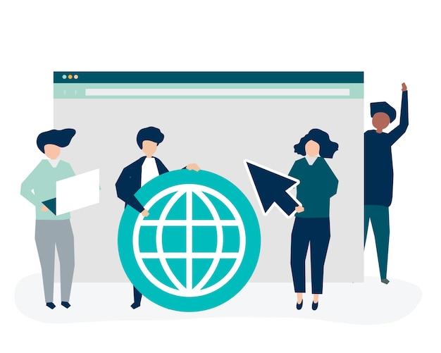 Caractères des personnes détenant des icônes de recherche sur internet