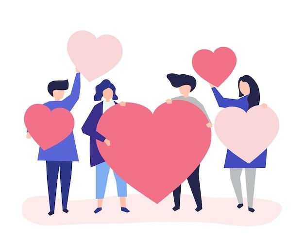 Caractères de personnes tenant des formes de coeur illustration