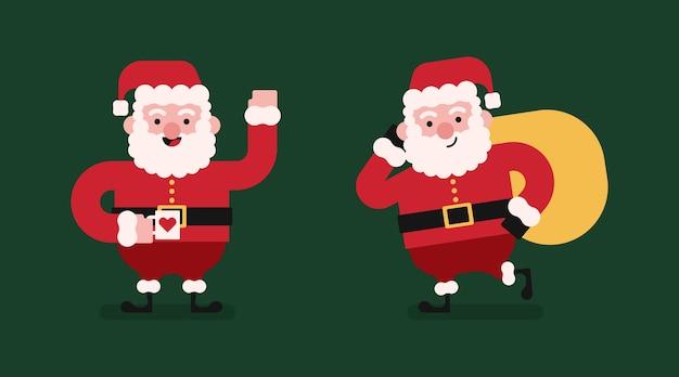 Caractères Plats Du Père Noël. Illustration Du Père Noël Vecteur Premium