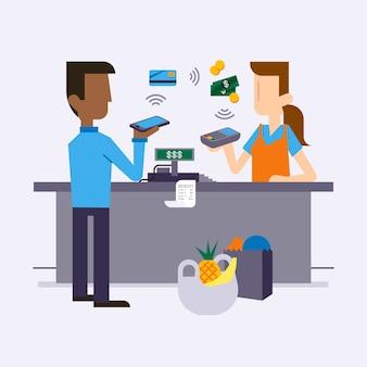 Caractères plats et paiement sans contact