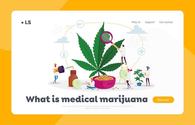 Caractères scientifiques cultivant du cannabis médical préparant une recette de cannabis homéopathique