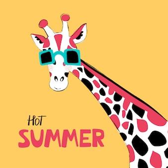 Caractères de vecteur dessiné main girafe. personnage de dessin animé animal africain mignon.