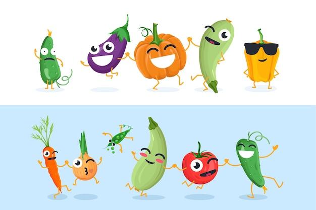 Caractères végétaux drôles - ensemble d'illustrations vectorielles isolées sur fond blanc et bleu. concombre mignon, aubergine, citrouille, oignon, tomate, pois. collection de haute qualité d'émoticônes de dessins animés