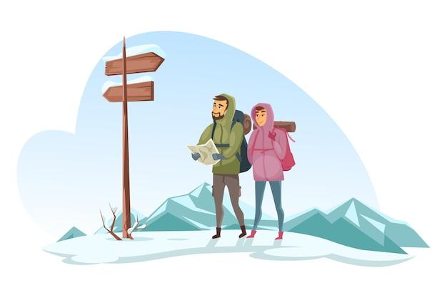 Les caractères des voyageurs regardent la carte papier par rapport aux panneaux routiers en bois