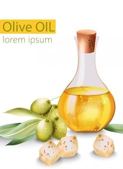 Carafe remplie d'huile d'olive entourée de fromage et d'olives, avec place pour le texte