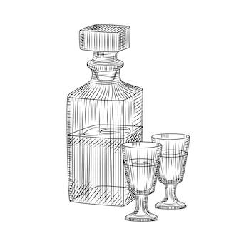 Carafe en verre de cristal d'alcool dessiné à la main et deux croquis de verre plein coup isolé sur fond blanc.