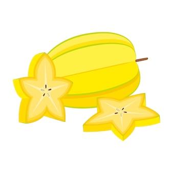 Carambole, fruits entiers et coupés, illustration vectorielle