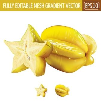 Carambole, illustration de starfruit sur blanc
