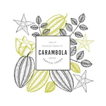 Carambole de style croquis dessinés à la main. illustration de fruits frais biologiques. modèle de fruits rétro